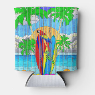 Fake Wood Grain Coastal Surf Art Can Cooler