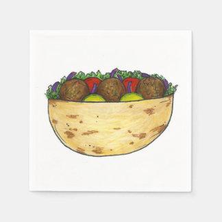Falafel Pita Sandwich Mediterranean Foodie Napkins Disposable Serviettes