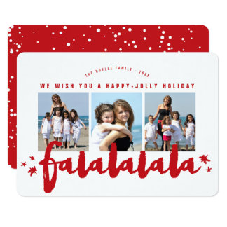 Falalalala Brush Stars Holiday Photo Collage Card 13 Cm X 18 Cm Invitation Card