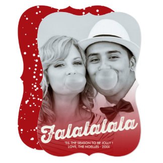 Falalalala Ombre Fun Christmas Holiday Photo Card 13 Cm X 18 Cm Invitation Card