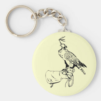 Falcon on Glove Keychain Basic Round Button Keychain