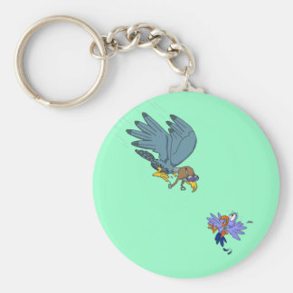 Falcon with goggles basic round button key ring