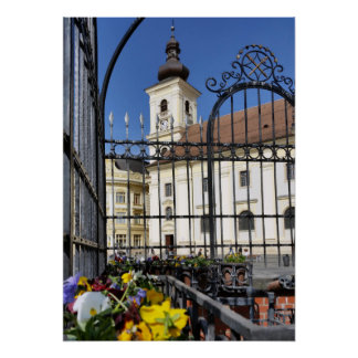 Falkenhayn Fountain Fountain with Grid Sibiu Poster