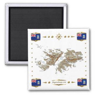 Falkland Islands Map + Flags Magnet