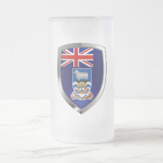 Falkland Islands Mettalic Emblem Frosted Glass Beer Mug