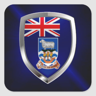 Falkland Islands Mettalic Emblem Square Sticker