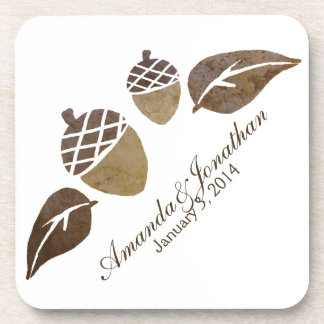 Fall Acorns and Leaves Wedding Coaster