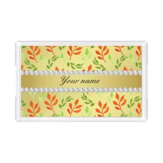 Fall and Green Leaves Faux Gold Foil Bling Diamond Acrylic Tray
