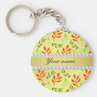 Fall and Green Leaves Faux Gold Foil Bling Diamond Basic Round Button Key Ring