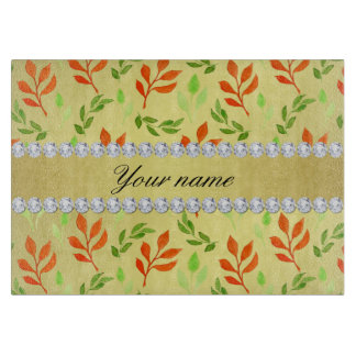 Fall and Green Leaves Faux Gold Foil Bling Diamond Cutting Board