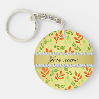 Fall and Green Leaves Faux Gold Foil Bling Diamond Double-Sided Round Acrylic Key Ring