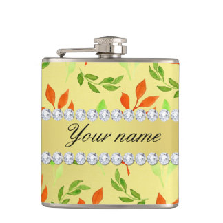 Fall and Green Leaves Faux Gold Foil Bling Diamond Hip Flask