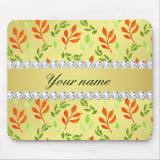 Fall and Green Leaves Faux Gold Foil Bling Diamond Mouse Pad