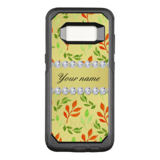 Fall and Green Leaves Faux Gold Foil Bling Diamond OtterBox Commuter Samsung Galaxy S8 Case