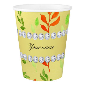 Fall and Green Leaves Faux Gold Foil Bling Diamond Paper Cup