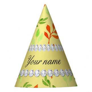 Fall and Green Leaves Faux Gold Foil Bling Diamond Party Hat
