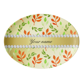 Fall and Green Leaves Faux Gold Foil Bling Diamond Porcelain Serving Platter