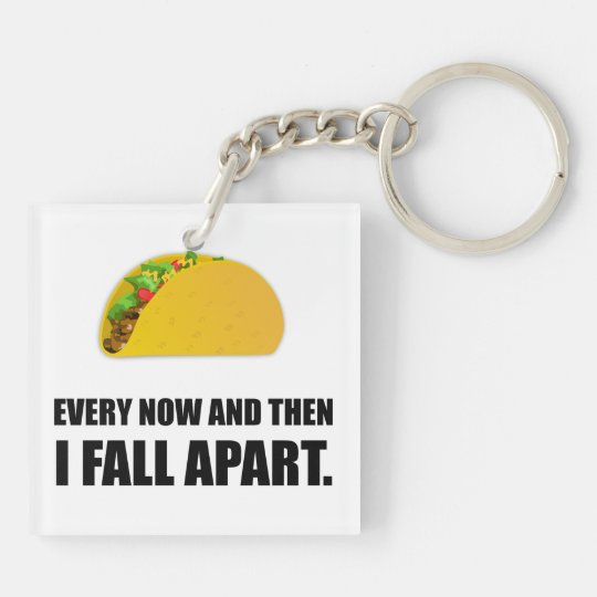 Fall Apart Taco Double-Sided Square Acrylic Key Ring
