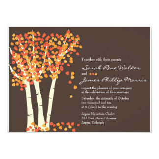 "Fall Aspen Tree Wedding Invitation 5.5"" X 7.5"" Invitation Card"
