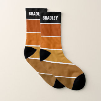 Fall Autumn Brown Color Palette Personalized Name Socks