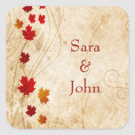 fall autumn brown leaves wedding favour stickers