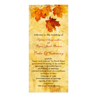 fall autumn brown leaves  wedding program rack card