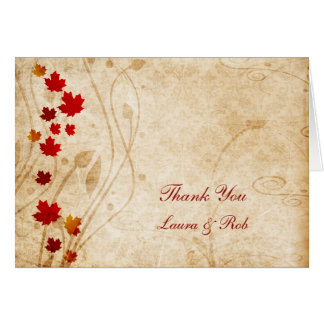 fall autumn brown wedding Thank You Greeting Card