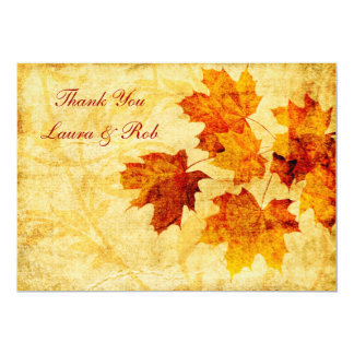 fall autumn brown wedding Thank You 13 Cm X 18 Cm Invitation Card