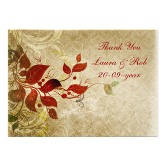 fall autumn brown wedding Thank You Invitations
