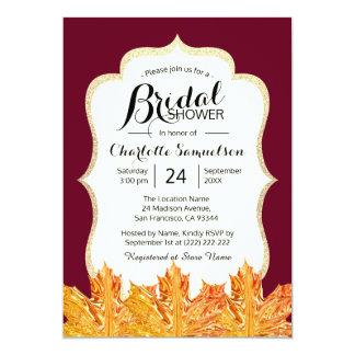 Fall Autumn Burgundy Gold Glitter Bridal Shower Card