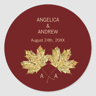Fall Autumn Burgundy Gold Maple Leaf Wedding Classic Round Sticker