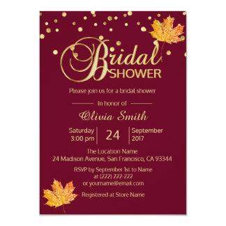 Fall Autumn Burgundy Marsala Bridal Shower Card