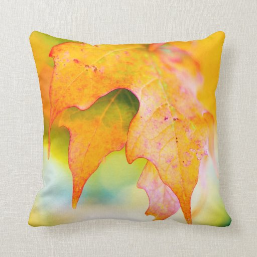 Fall / Autumn Colorful Light Kissed Leaf / Leaves Pillow