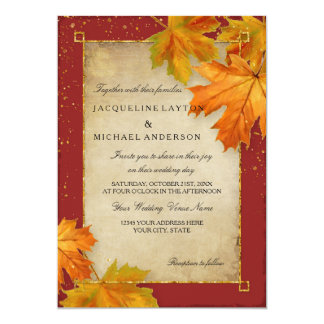 Fall Autumn Falling Leaf Leaves Elegant Wedding Card