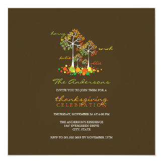 Fall Autumn Family Tree Thanksgiving Party Invite