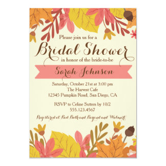 Fall Autumn Floral Bridal Shower Invitation Pink