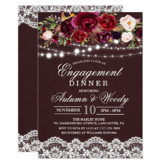 Fall Autumn Floral Engagement Dinner Invitation