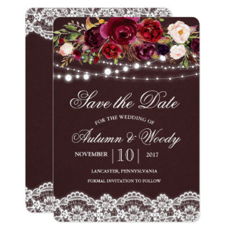 Fall Autumn Floral Save the Date Invitation