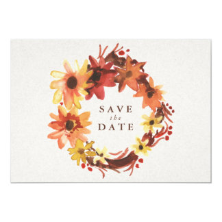 Fall /Autumn Flowers Wedding Save the Date 13 Cm X 18 Cm Invitation Card