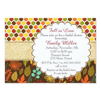 Fall Autumn Glitter Bridal Shower Invitation