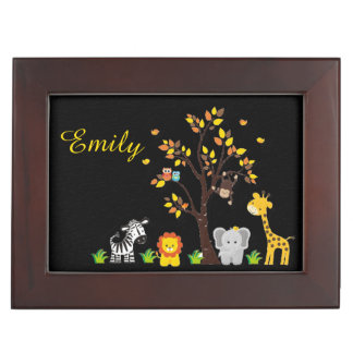 Fall Autumn Jungle Safari Nursery Animal Baby Keepsake Box
