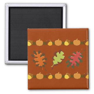 Fall Autumn Leaves Acorns Design Square Magnet