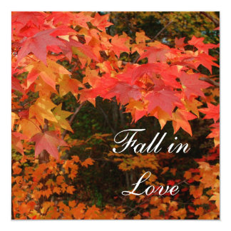 Fall Autumn Leaves Bridal Shower Party Invitations