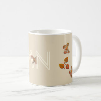Fall Autumn Leaves Butterflies Add Initials Mug