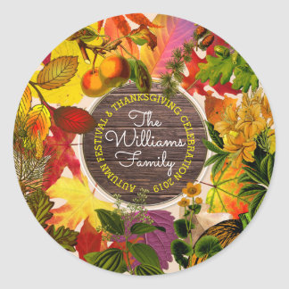 Fall Autumn Leaves Collage Monogram Vintage Wood Classic Round Sticker