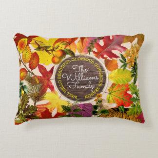 Fall Autumn Leaves Collage Monogram Vintage Wood Decorative Cushion