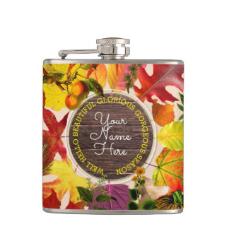 Fall Autumn Leaves Collage Monogram Vintage Wood Hip Flask