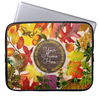 Fall Autumn Leaves Collage Monogram Vintage Wood Laptop Sleeve