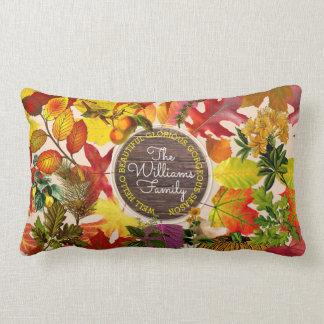 Fall Autumn Leaves Collage Monogram Vintage Wood Lumbar Cushion