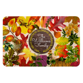 Fall Autumn Leaves Collage Monogram Vintage Wood Magnet